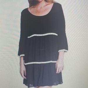 Umgee Three Tier Bell Sleeve Boho Dress New Black